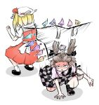 2girls black_footwear black_legwear blonde_hair brown_eyes brown_hair checkered checkered_skirt crystal dodging flandre_scarlet hat hat_ribbon highres himekaidou_hatate long_hair mary_janes mob_cap motion_lines multiple_girls open_mouth peroponesosu. purple_skirt red_skirt red_vest ribbon sandals scared shirt shoes short_hair simple_background skirt tokin_hat touhou two_side_up vest white_background white_shirt wide-eyed wings