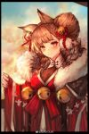 1girl absurdres alternate_costume amayouri angelina_(arknights) animal_ears arknights bell black_border blush border breasts brown_eyes brown_hair chinese_commentary clothing_request commentary_request dress fox_ears fur_trim hair_bell hair_ornament highres large_breasts looking_at_viewer red_dress smile solo upper_body weibo_username