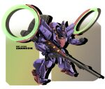 character_name chibi clenched_hand gun gundam highres holding holding_gun holding_weapon mecha mobile_suit no_humans red_eyes sibelurabbi solo victory_gundam weapon zanneck zanscare