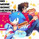black_hair crossover denim energy_sword eyebrows_visible_through_hair food gloves green_eyes jacket jeans looking_at_viewer male_focus no_more_heroes onsta pants red_jacket shoes short_hair simple_background smile sonic_(series) sonic_the_hedgehog sunglasses sword travis_touchdown weapon white_gloves