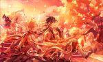 1girl 3boys aether_(genshin_impact) ahoge ayano_(katou) bangs blonde_hair braid building closed_eyes dress evening from_side genshin_impact gloves hair_ornament halo highres jacket leaf long_hair long_sleeves multiple_boys open_mouth orange_hair outdoors paimon_(genshin_impact) pants ponytail single_braid sky tartaglia_(genshin_impact) tree upper_body white_hair zhongli_(genshin_impact)