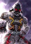 another_fourze_(zi-o) another_rider_(zi-o) antennae bat_wings clenched_hand cowboy_shot creature driver evil forehead_jewel grimace head_wings horns kamen_rider kamen_rider_zi-o_(series) looking_at_viewer monster red_eyes rocket sharp_teeth shinpei_(shimpay) single_horn space teeth white_armor wings