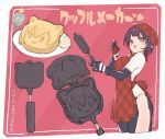 1girl 1other alternate_costume apron breasts brown_hair food gradient_hair highres hololive multicolored_hair no_pants nosir_onadat open_mouth roboco-san robosaa_(roboco) shirt short_hair smile tagme translation_request virtual_youtuber yellow_eyes