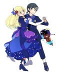 1boy 1girl 1other alternate_costume alternate_hairstyle atsumi_yoshioka bare_shoulders black_eyes black_hair blonde_hair blue_bow blue_dress blue_footwear blue_suit blush bow bowtie braid buttons closed_mouth commentary_request cosmog dancing detached_sleeves dress elbow_gloves eyebrows_visible_through_hair flower formal frilled_skirt frills gloves green_eyes hair_flower hair_ornament hand_on_another's_back high_heels holding_hands instrument legendary_pokemon lillie_(pokemon) long_hair long_sleeves looking_at_another looking_away official_alternate_costume open_mouth pocket pokemon pokemon_(creature) pokemon_(game) pokemon_masters_ex pokemon_sm ponytail purple_bow purple_neckwear red_flower shoes short_hair short_ponytail side_braid simple_background skirt sleeveless smile suit sun_(pokemon) turtleneck turtleneck_dress violin waltz_(dance) white_background white_gloves