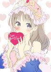 1girl absurdres atelier_(series) atelier_totori blush_stickers breasts brown_hair candy chocolate collarbone detached_sleeves dress food happy_valentine headdress heart heart-shaped_chocolate highres holding holding_chocolate holding_food long_hair minidraco small_breasts solo totooria_helmold valentine