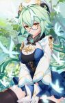 1girl black_legwear breasts butterfly closed_mouth female genshin_impact glasses gloves hair_between_eyes hat short_hair suantan sucrose_(genshin_impact) thigh-highs thighs white_gloves