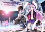 1girl american_flag animal_ears assault_rifle black_legwear blazer blue_skirt blush breasts building cityscape diffraction_spikes earth_(planet) eyebrows_visible_through_hair gun hand_on_hip helmet highres jacket joyfull_(terrace) large_breasts lens_flare light_purple_hair long_hair looking_to_the_side moon necktie planet pleated_skirt rabbit_ears red_eyes red_neckwear reflection reisen_udongein_inaba rifle satellite skirt sky skyscraper smile space star_(sky) starry_sky touhou weapon