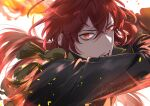 1boy bangs black_jacket crossed_bangs diluc_(genshin_impact) fire genshin_impact gloves hair_between_eyes highres hiiro_(coinxtossxdive) jacket long_hair long_sleeves looking_at_viewer male_focus open_mouth ponytail red_eyes redhead simple_background solo twitter_username upper_body white_background