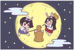 >_< 2girls akagi_(kancolle) animal_ears barefoot blue_hakama blush brown_hair clouds fake_animal_ears hakama highres japanese_clothes kaga_(kancolle) kantai_collection kimono long_hair mallet megahiyo mochi moonlight multiple_girls night night_sky nontraditional_miko open_mouth rabbit_ears red_hakama side_ponytail sky star_(sky) straight_hair white_kimono younger