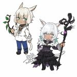 1girl :3 animal_ears black_dress black_footwear blonde_hair blue_legwear boots brown_jacket cat_ears cat_girl cat_tail chibi chinese_commentary closed_mouth commentary_request dated dress earrings facial_mark feather_earrings feathers final_fantasy final_fantasy_xiv full_body fur-trimmed_dress fur_trim green_eyes holding holding_staff iris@work jacket jewelry knee_boots long_sleeves looking_at_viewer medium_hair miqo'te multiple_persona pantyhose signature slit_pupils staff tail whisker_markings white_hair white_jacket y'shtola_rhul