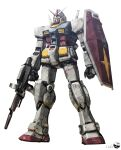 beam_rifle clenched_hand energy_gun gun gundam highres holding holding_gun holding_shield holding_weapon magmastudio mecha mobile_suit mobile_suit_gundam no_humans rx-78-2 science_fiction shield solo standing v-fin weapon white_background