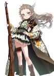 1girl ascot boots bullet character_request closed_mouth coat eiyuu_senki eiyuu_senki_ww flat_chest floating_hair green_eyes green_neckwear grey_hair gun hair_ornament hand_on_hip highres holding holding_gun holding_weapon long_hair long_sleeves looking_at_viewer mochi_(circle_rin) official_art open_clothes open_coat pointy_ears rifle simple_background solo standing weapon weapon_request white_background