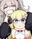 2girls :> absurdres animal_ears blonde_hair blue_eyes breast_squeeze breasts clenched_teeth empty_eyes fangs gloom_(expression) grey_eyes grey_hair height_difference highres hololive horns lion_ears lion_girl long_hair medium_breasts mouth_pull multiple_girls odoc shaded_face sheep_girl sheep_horns shishiro_botan sweat teeth tsunomaki_watame virtual_youtuber