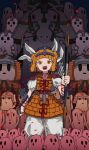 1girl absurdres bangs blunt_bangs cavalry clothes cracked_skin double_bun eyebrows_visible_through_hair hair_ribbon haniwa_(statue) highres holding holding_polearm holding_spear holding_weapon infantry joutouguu_mayumi neruzou open_mouth pants polearm ribbon short_hair spear touhou v-shaped_eyebrows weapon white_pants white_ribbon wrist_guards yellow_armor