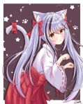 1girl animal_ears bangs blush cat_ears cat_girl cat_tail commentary_request eyebrows_visible_through_hair hair_between_eyes head_tilt japanese_clothes long_hair long_sleeves looking_at_viewer m_ko_(maxft2) miko multicolored_hair original parted_lips paw_pose ribbon ribbon-trimmed_sleeves ribbon_trim sidelocks silver_hair simple_background solo streaked_hair tail tail_ornament tail_ribbon twintails two-tone_hair wide_sleeves yellow_eyes