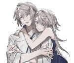 1boy 1girl annoyed bare_shoulders blue_eyes blue_neckwear blush closed_mouth collarbone crossed_arms eyebrows_visible_through_hair grey_hair hair_between_eyes hug human_homeosta long_hair looking_at_viewer original parted_lips shiny shiny_hair simple_background sketch sleeves_rolled_up upper_body white_background yellow_pupils