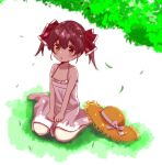 1girl :o absurdres barefoot bow child dress full_body grass hat hat_bow hat_removed headwear_removed heterochromia highres hololive houshou_marine leaf ontake2009 red_eyes redhead sitting solo sun_hat sundress twintails virtual_youtuber wariza yellow_eyes younger