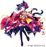1girl :d animal_ears bangs black_hair black_legwear blue_bow blush bow cat_ears cat_girl cat_tail commentary_request copyright_request egasumi eyebrows_visible_through_hair fang floral_print full_body japanese_clothes kimono long_sleeves multiple_tails obi official_art open_mouth print_kimono red_eyes red_footwear red_kimono sakurazawa_izumi sash short_hair simple_background sleeves_past_wrists smile solo tail tail_bow tail_ornament thigh-highs two_tails watermark white_background wide_sleeves yellow_bow zouri