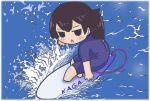 1girl blue_bodysuit bodysuit border brown_hair chibi full_body highres jitome kaga_(kancolle) kantai_collection megahiyo open_mouth side_ponytail solo sunlight surfboard surfing water white_border