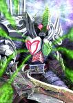 another_blade_(zi-o) another_rider_(zi-o) armor aura beetle blue_armor bug card clenched_teeth colored_skin creature evil glowing glowing_eyes holding holding_sword holding_weapon kamen_rider kamen_rider_zi-o_(series) looking_at_viewer monster oversized_object playing_card poker powering_up red_skin rider_belt shinpei_(shimpay) shoulder_spikes skull spade_(shape) spiked_gauntlets spikes sword teeth weapon