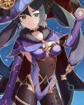 1girl adjusting_clothes adjusting_headwear bangs black_gloves black_hair black_legwear cape choker commentary_request detached_sleeves earrings eyebrows_visible_through_hair genshin_impact gloves green_eyes hair_between_eyes hair_ornament hat highres jewelry leotard long_hair looking_at_viewer mona_(genshin_impact) pantyhose shishamo_(syamo_shi) sidelocks solo strapless strapless_leotard twintails witch_hat
