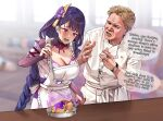 1boy 1girl @_@ apron bangs blonde_hair blunt_bangs blurry blurry_background braid braided_ponytail breasts bridal_gauntlets chef_uniform commentary crossover electricity english_commentary english_text eyebrows_visible_through_hair food foxyreine frilled_apron frills frying_pan genshin_impact gordon_ramsay hair_ornament hand_up hands_up hell's_kitchen highres holding indoors ladle large_breasts long_hair mole mole_under_eye neck_ribbon obi open_mouth parted_lips purple_hair raiden_shogun raised_eyebrows real_life ribbon sash short_hair speech_bubble spoon tearing_up violet_eyes watch watch white_apron window wrinkled_skin