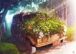 abandoned animal bird car commentary_request day fence flower ground_vehicle mocha_(cotton) motor_vehicle no_humans original outdoors overgrown purple_flower rust scenery signature sunlight tree vehicle_request white_flower wooden_fence