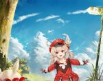 1girl :d ahoge backpack bag bangs blue_sky blurry brown_gloves brown_scarf cabbie_hat clouds cloudy_sky clover_print coat commentary depth_of_field english_commentary eyebrows_visible_through_hair genshin_impact gloves grass hair_between_eyes hat hat_feather hat_ornament jumpy_dumpty kelvwinte klee_(genshin_impact) light_brown_hair long_hair long_sleeves looking_at_viewer low_twintails open_mouth outstretched_arms pocket pointy_ears red_coat red_eyes red_headwear scarf scenery sidelocks sky smile solo spread_arms tree twintails