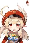 1girl :d absurdres ahoge bangs brown_gloves brown_scarf cabbie_hat close-up coat commentary_request eyebrows_visible_through_hair flower genshin_impact gloves hair_between_eyes hat hat_feather hat_ornament highres holding holding_flower klee_(genshin_impact) light_brown_hair long_hair long_sleeves looking_at_viewer open_mouth orange_eyes red_coat red_headwear scarf shu_yi_zhi_shu sidelocks simple_background sky smile solo white_background