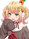 1girl :d bangs blonde_hair blush brown_sweater collar commentary_request fang flower frilled_collar frills gradient_hair green_eyes hair_flower hair_ornament hairclip hand_up highres hololive long_sleeves looking_at_viewer medium_hair momosuzu_nene multicolored_hair neckerchief nekko_(momosuzu_nene) ojyomu open_mouth pink_hair red_neckwear sailor_collar simple_background sleeves_past_fingers sleeves_past_wrists smile sweater twintails upper_body virtual_youtuber white_background white_flower white_sailor_collar