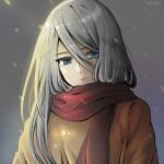 1girl alternate_costume artist_name blue_eyes brown_sweater closed_mouth commentary_request eyebrows_visible_through_hair hair_between_eyes highres long_hair mole mole_under_mouth nier_(series) nier_automata red_scarf scarf silver_hair solo sweater wizwit yorha_type_a_no._2