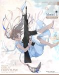 1girl artist_request assault_rifle bare_legs blonde_hair blue_eyes blue_ribbon bracelet braid character_name commentary_request copyright_name dress eyebrows_visible_through_hair falling french_braid girls_frontline gun hair_ribbon highres holding holding_gun holding_weapon jewelry long_hair looking_up model_l_(girls'_frontline) official_art open_mouth ribbon rifle shoes single_shoe solo torn_clothes torn_dress torn_shoes weapon white_dress white_footwear