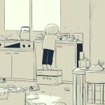 1boy absurdres avogado6 box child commentary_request dishwashing facing_away from_behind highres indoors monochrome on_box original pants shirt solo teapot tiptoes yellow_theme