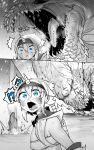 1girl :< ^^^ absurdres bandeau blue_eyes blush hair_between_eyes hairband highres horns kirin_(armor) medium_hair monster_hunter_(series) niwarhythm sidelocks single_horn solo spot_color wide-eyed