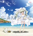 1girl anchovy_(girls_und_panzer) bare_arms bare_legs bare_shoulders barefoot beach bouquet bow bridal_veil brown_eyes clothes_lift clouds cloudy_sky copyright_name curly_hair dress dress_lift feet flower girls_und_panzer green_hair ground_vehicle hair_bow house looking_at_viewer military military_vehicle motor_vehicle ocean official_art open_mouth outdoors sample sky smile solo tank toy_tank twintails veil wedding_dress white_bow white_dress