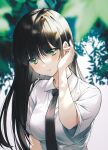 1girl bangs black_hair black_neckwear blush breasts closed_mouth collared_shirt commentary eyebrows_visible_through_hair green_eyes highres long_hair looking_at_viewer necktie original oso_5425 outdoors school_uniform shirt short_sleeves smile solo upper_body white_shirt