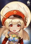 1girl :d absurdres ahoge bangs blurry brown_gloves brown_scarf cabbie_hat close-up coat commentary_request depth_of_field eyebrows_visible_through_hair flower full_moon genshin_impact gloves hair_between_eyes hat hat_feather hat_ornament highres holding holding_flower klee_(genshin_impact) light_brown_hair long_hair long_sleeves looking_at_viewer moon night night_sky open_mouth orange_eyes red_coat red_headwear scarf shu_yi_zhi_shu sidelocks sky smile solo star_(sky) starry_sky