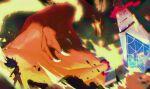 1boy blurry champion_uniform charizard claws commentary_request duraludon fire floating_hair giant gigantamax gigantamax_charizard gigantamax_duraludon kmtk leon_(pokemon) long_hair looking_up pokemon pokemon_(creature) pokemon_(game) pokemon_swsh purple_hair shirt shorts stadium white_legwear white_shorts