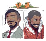 2boys black_hair brothers business_suit clenched_teeth closed_mouth collared_shirt commentary_request cufant expedition_uniform facial_hair formal fur-trimmed_jacket fur_trim green_eyes grey_jacket grey_vest jacket kmtk male_focus multiple_boys necktie no_headwear one_eye_closed orange_jacket peony_(pokemon) pokemon pokemon_(creature) pokemon_(game) pokemon_swsh red_neckwear rose_(pokemon) shirt short_hair siblings suit teeth undercut very_short_hair vest white_shirt