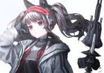 1girl angelina_(arknights) animal_ears arknights bangs black_gloves brown_hair closed_mouth fox_ears fox_girl gloves hayatelikecat headphones infection_monitor_(arknights) jacket long_sleeves red_eyes solo twintails white_jacket