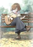 1girl acoustic_guitar aran_sweater autumn_leaves bangs bench bob_cut boots brown_footwear brown_hair brown_legwear casual closed_eyes commentary cross-laced_footwear crossed_legs etokakaitari foliage full_body guitar hair_ornament hairclip head_down highres hirasawa_yui holding holding_instrument holding_plectrum instrument k-on! knee_boots lace-up_boots leaf long_skirt long_sleeves music on_bench open_mouth outdoors park park_bench pinstripe_skirt playing_instrument plectrum scarf shaded_face shadow short_hair singing sitting skirt solo striped striped_neckwear sweater texture tree white_scarf white_sweater wind