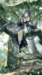 1girl absurdres bangs black_footwear black_hair blue_eyes boots branch bug butterfly chinese_clothes closed_mouth earrings fu_hua fu_hua_(azure_empyrea) full_body grass hair_ornament hair_over_one_eye highres honkai_(series) honkai_impact_3rd in_tree jewelry leaf long_hair long_sleeves oil-paper_umbrella outdoors ponytail qqqne red_butterfly sitting sitting_in_tree solo tree umbrella