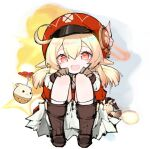 1girl :< :d absurdres ahoge backpack bag blonde_hair boots brown_footwear cabbie_hat clover_print coat dodoco_(genshin_impact) error1980 explosion eyebrows_visible_through_hair genshin_impact hair_between_eyes hands_on_own_knees hat hat_feather highres jumpy_dumpty klee_(genshin_impact) knee_boots loli open_mouth randoseru red_coat red_eyes red_headwear shorts sidelocks simple_background sitting smile solo