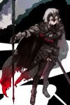 1girl armor armored_dress cape chain dress fate/grand_order fate_(series) flag headpiece highres holding holding_flag jeanne_d'arc_(alter)_(fate) jeanne_d'arc_(fate) short_hair silver_hair white_hair yellow_eyes yoyoyo_(dxayo)