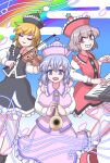 3girls black_headwear blonde_hair blue_sky blush breasts brown_hair clear_sky closed_eyes clouds commentary_request egasumi eyebrows_visible_through_hair feet_out_of_frame frilled_shirt_collar frilled_skirt frills hair_between_eyes happy hat_ornament highres instrument keyboard_(instrument) large_breasts long_sleeves looking_at_viewer lunasa_prismriver lyrica_prismriver merlin_prismriver multiple_girls musical_note open_mouth pink_headwear purple_hair rainbow red_headwear siblings sisters skirt sky smile star_(symbol) star_hat_ornament temu touhou trumpet violin white_sleeves
