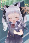 1girl :d ^^^ absurdres animal_ears bag bangs black_jacket black_skirt blunt_bangs bow bowtie cat_ears cat_girl cat_tail child closed_eyes cocozasa commentary_request crime_prevention_buzzer facing_viewer fang hair_ribbon highres hololive jacket kindergarten_bag long_hair murasaki_shion notice_lines open_mouth outdoors pleated_skirt red_bow red_neckwear ribbon school_uniform serafuku short_eyebrows silver_hair skirt smile solo_focus sweat tail translation_request twintails virtual_youtuber wavy_hair younger