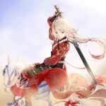 1girl armor bangs blue_sky chinese_armor chinese_clothes clouds cloudy_sky drawing_sword fu_hua fu_hua_(phoenix) hair_between_eyes highres holding holding_sword holding_weapon honkai_(series) honkai_impact_3rd horseback_riding long_hair long_sleeves looking_at_viewer multicolored_hair outdoors ponytail qqqne red_eyes riding sheath sky solo streaked_hair sword sword_behind_back unsheathing weapon white_hair white_horse