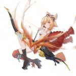 1girl absurdres arrow_(projectile) asymmetrical_legwear bangs black_legwear bow_(weapon) brown_eyes brown_hair closed_mouth flaming_arrow full_body genshin_impact hair_between_eyes hair_ornament highres holding holding_arrow holding_bow_(weapon) holding_weapon japanese_clothes l1an9_(user_xdpk2425) looking_at_viewer sarashi simple_background smile solo uneven_legwear v-shaped_eyebrows weapon white_background yoimiya_(genshin_impact)
