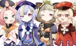 4girls :3 :d ahoge animal_ears animal_hood backpack bag bangs bangs_pinned_back bead_necklace beads black_scarf black_shorts blunt_bangs brown_scarf cabbie_hat cat_ears chinese_clothes choker clover_print coat coin_hair_ornament commentary_request detached_sleeves diona_(genshin_impact) eyebrows_visible_through_hair fake_animal_ears fang forehead genshin_impact green_eyes hair_between_eyes hands_on_hips hat hat_feather hat_ornament highres hood japanese_clothes jewelry jiangshi klee_(genshin_impact) leaf leaf_on_head light_brown_hair long_hair long_sleeves low_twintails multiple_girls navel necklace ninja obi ofuda open_mouth orange_eyes parted_lips paw_print pink_hair pocket pointy_ears puffy_detached_sleeves puffy_shorts puffy_sleeves purple_hair qing_guanmao qiqi_(genshin_impact) raccoon_ears red_coat red_headwear sash sayu_(genshin_impact) scarf shishamo_(syamo_shi) short_hair short_sleeves shorts shuriken sidelocks silver_hair simple_background smile thick_eyebrows twintails violet_eyes vision_(genshin_impact) weapon white_background