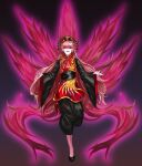 1girl absurdres aura bangs black_background black_sash blonde_hair chinese_clothes energy eyebrows_visible_through_hair fox_tail full_body hair_between_eyes highres junko_(touhou) long_hair long_sleeves looking_at_viewer multiple_tails open_mouth outstretched_arms phoenix_crown red_eyes reki_(user_rcrd4534) ribbon sash simple_background solo tabard tail touhou uneven_eyes upper_teeth wide_sleeves yellow_neckwear yellow_ribbon